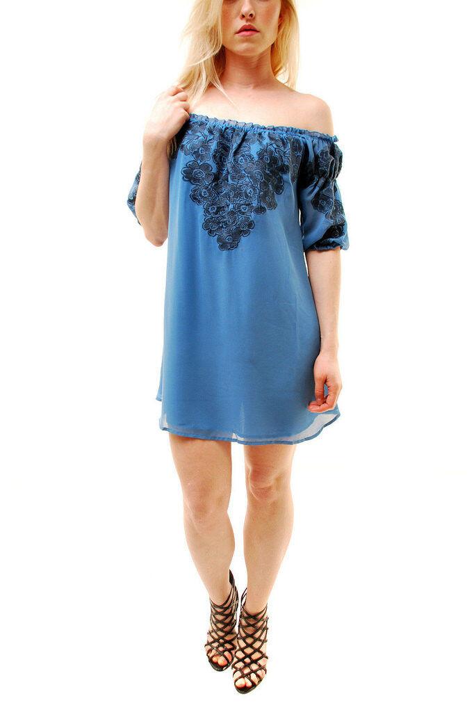 Für Love & Zitronen Frauen Sizilien Blau Minikleid Blau Größe S  BCF65