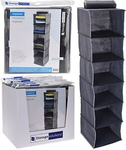 Image Is Loading Large Grey Fabric Hanging Storage  Clothes Organiser Collapsible
