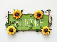 Metal Rustic Sunflower Welcome Hanging Sign Garden Wall Door Decor 16.5x10