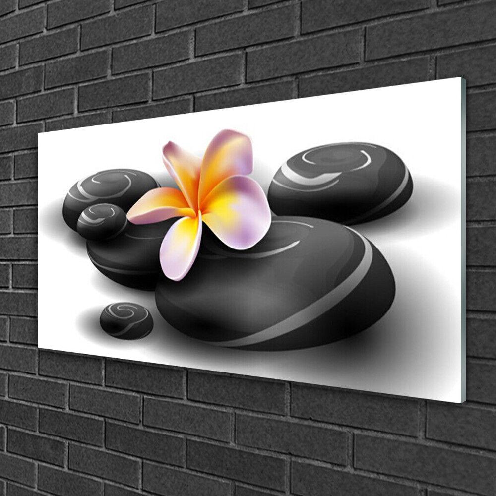 Image sur verre Tableau Impression 100x50 Nature Fleurs Pierres