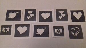 30 X Heart Mini Small Stencils For Glitter Tattoos Airbrush Love
