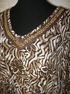 Beaded-Knit-Tunic-Top-Ivory-Brown-Tan-Multi-Print-V-Neck-3-4-Sleeve-XL