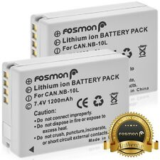 Fosmon 2X NB-10L High Capacity 1200mAh Replacement Battery Canon PowerShot