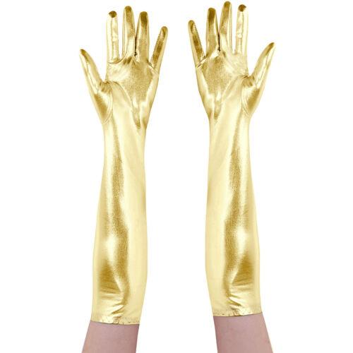 Damen Lange Wetlook Handschuhe Leder-Optik Glänzende Abendhandschuhe Metallic