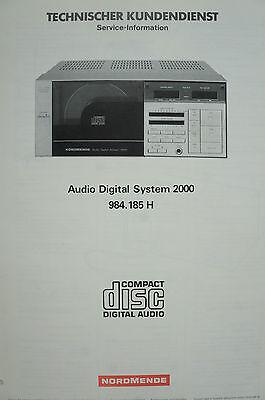 Audio Digital System 2000 984.185 H Service-information B2553 GroßEr Ausverkauf Gerade Nordmende