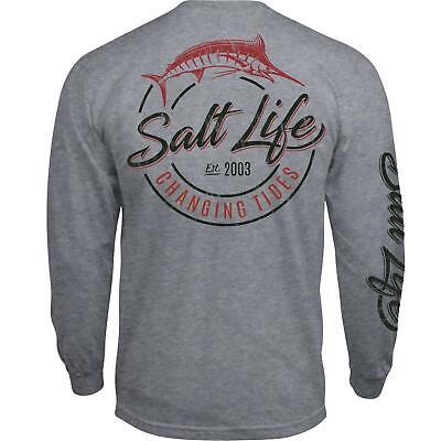 Salt Life Changing Tides Mens Long Sleeve Pocket T-Shirt NWT 2XL//XL//Large