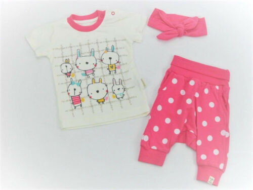 Babyset Sommer Set T-Shirt Pumphose kurz Stirnband Rosa 3-tlg Mädchen 56 62 68