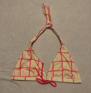 Body-Glove-Triangle-Bikini-Top-Pink-Cream-Halter-Tie-Women-s-Size-Small-C