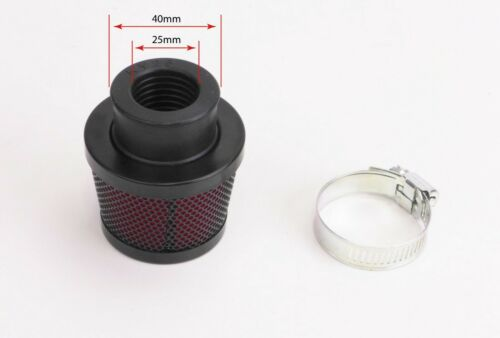 Pod Air Filter 25mm Round  Black Body with Red Foam Filter NEW MOPED 50CC MINI