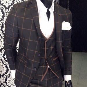 sehr edler schwarz anzug mit weste braun kariert tailliert passendem hemd 48 ebay. Black Bedroom Furniture Sets. Home Design Ideas