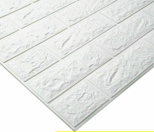 Weiß 10 tlg 3D Tapete Wandpaneele Selbstklebend Ziegel Wasserfest Wandaufkleber