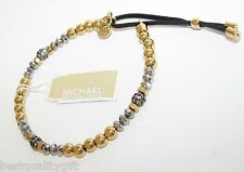 MICHAEL KORS STRETCH GOLD,GUNMETAL,CRYSTAL BEADS+BLACK LEATHER BRACELET MKJ2094