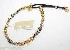 MICHAEL KORS STRETCH GOLD,GUNMETAL,CRYSTAL BEADS+BLACK LEATHER BRACELET MKJ2094