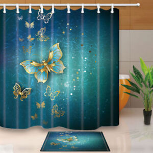 Beautiful Gold Butterfly Bathroom Shower Curtain Set Fabric 12
