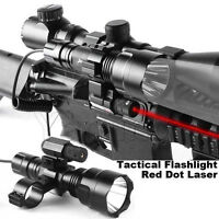 Tactical Red Laser Sight + Led Flashlight + Dual Ring Mount + Remote Switch 4in1