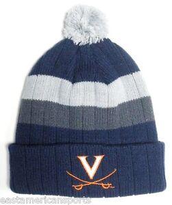 d1529507cdf Virgina Cavaliers NCAA Blue   Gray Stripe Ball Pom Knit Hat Cap ...