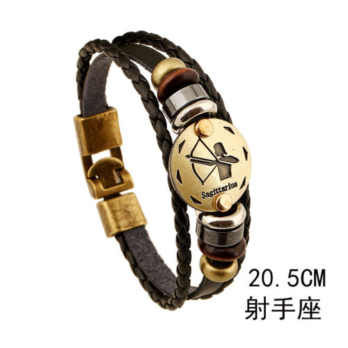 FAIT MAIN unisexe bronze 12 Zodiac Round Pendentif Punk Cuir Bangle Bracelet Charme