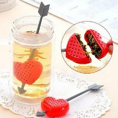 2X Heart Shape Loose Rose Green Tea Bag Infuser Herb Leaf Spice Strainer Filter