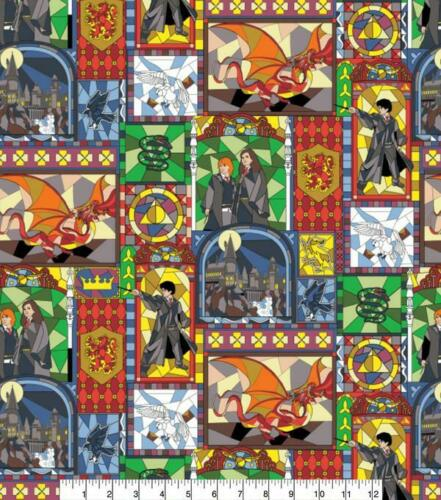 Harry Potter Stained Glass Window 100/% Cotton Fabric FAT QUARTER