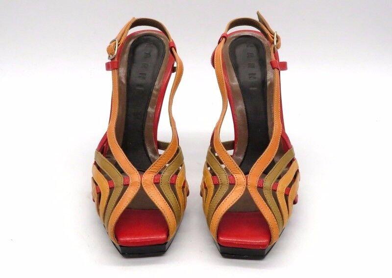 MARNI Dimensione 36 Multi colore Open Toe Toe Toe Slingback Leather Stappy High Heel Sandals f993c5
