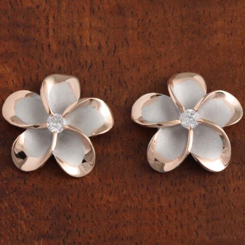 Sterling Silver Rhodium PG Plaqué 18 mm Plumeria post Boucles d/'oreilles SE53259