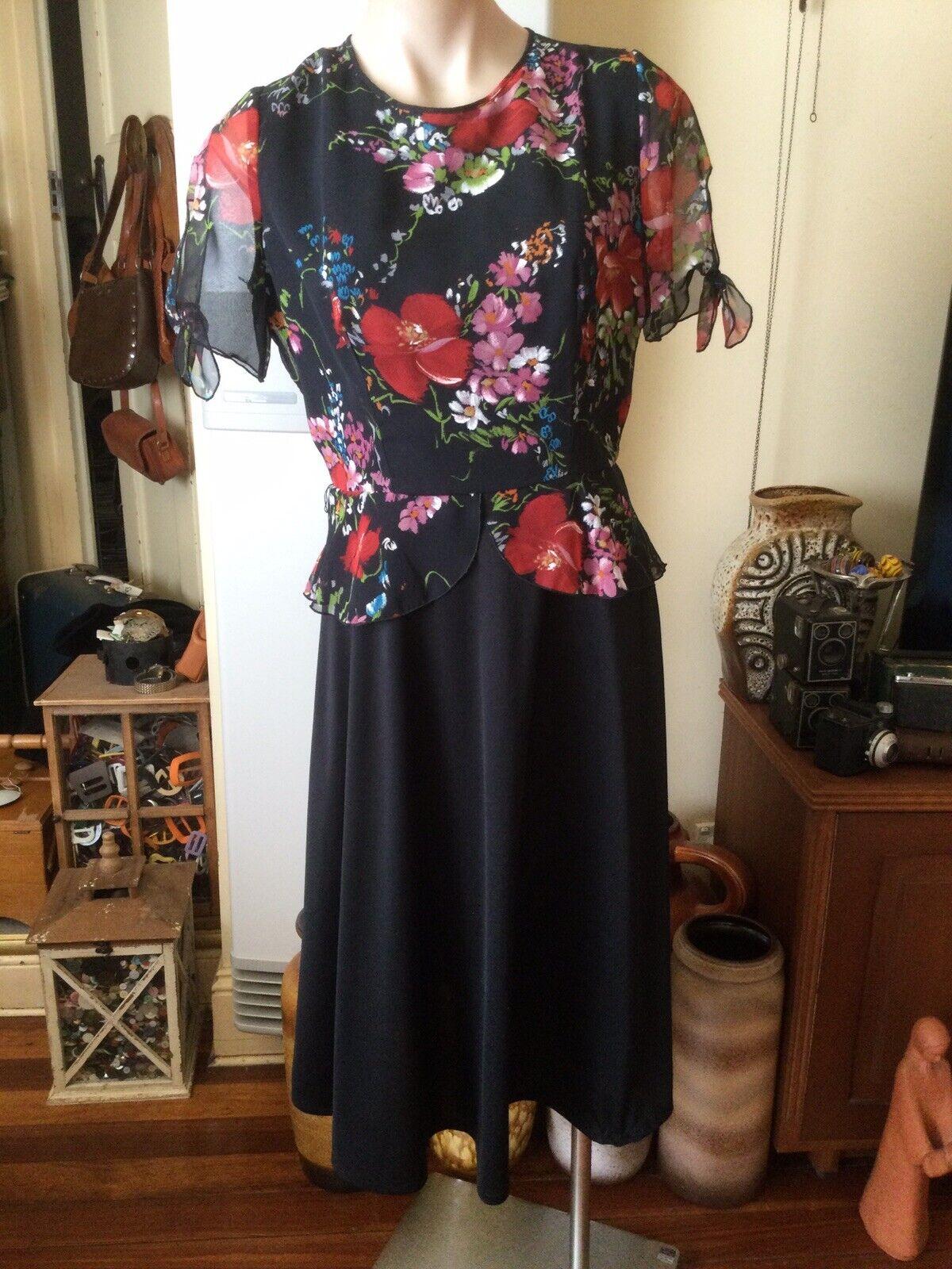 Vintage 70's DORSAM FASHIONS Casual Street Dress Black Floral Chiffon Bodice 14