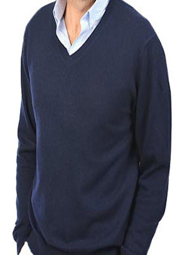 Balldiri 100% Cashmere Kaschmir Herren Pullover V Ausschnitt dunkelblau L
