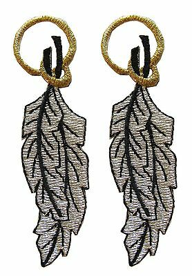 """#2687 Lot 2Pcs 3-1/4"""" Silver Feather w/Golden Rope Embroidery Applique Patch"""