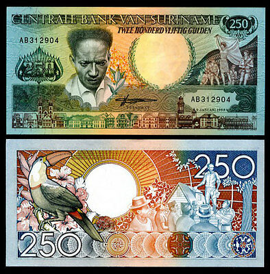 1991 UNC P-138a Surinam Suriname 25 Gulden Prefix AD