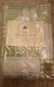 Pottery Barn Green White Patchork Plaid Cotton Quilted Standard
