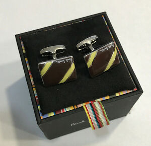 Paul-Smith-Boutons-de-manchette-2-BANDES-AVEC-PAUL-SMITH-signature-Swings