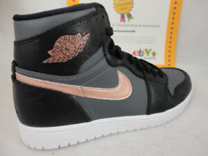 a50f587e2c02 Image is loading Nike-Air-Jordan-1-Retro-High-Black-Metallic-