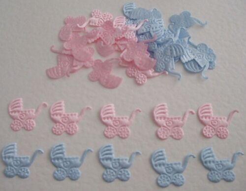 20 poussettes satin bébé embellissements bleu rose pour cardmaking et scrapbooking
