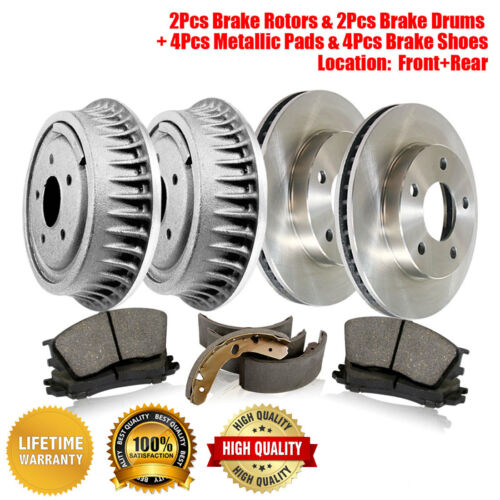 Front Rear Brake Rotors Shoes Fits Chevrolet C1500 Metallic Pads /& Brake Drums