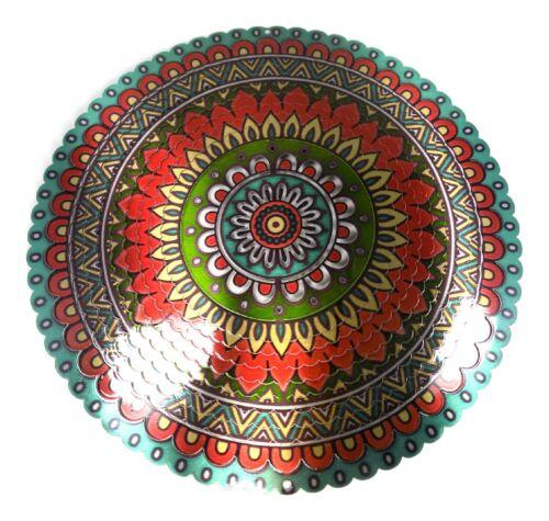 WorldaWhirl Whirligig 3D Mandala Wind Spinner Hand Paint Stainless Kinetic Twist