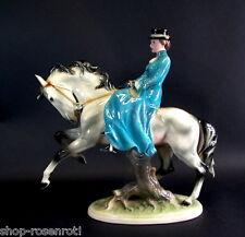 riesige Figurengruppe Pferd mit Reiterin -Dressurreiten - Goldscheider / Keramos