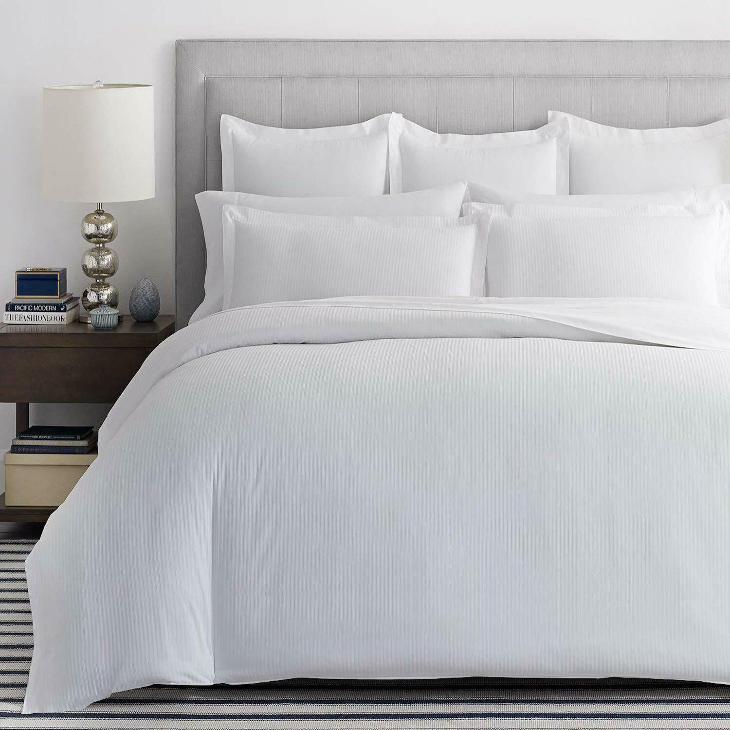 EGYPTIAN COTTON 800 THREAD COUNT STRIPE Weiß KING Größe DUVET COVER
