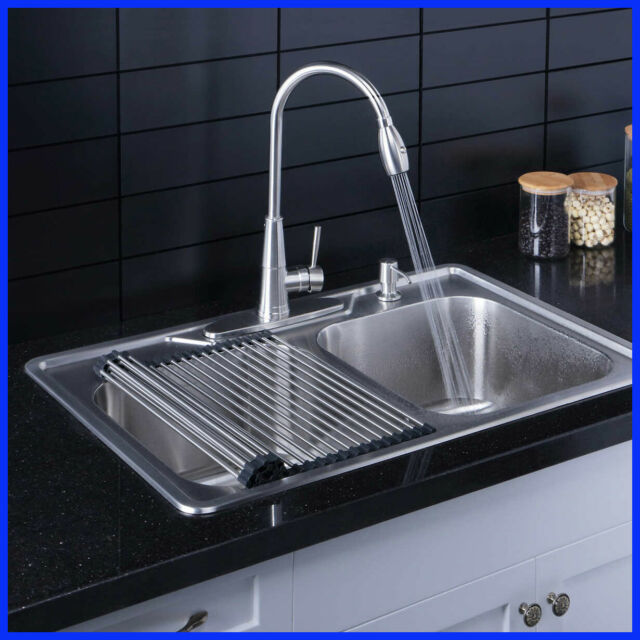 "Double Bowl 33"" Dual Mount Kitchen Sink"
