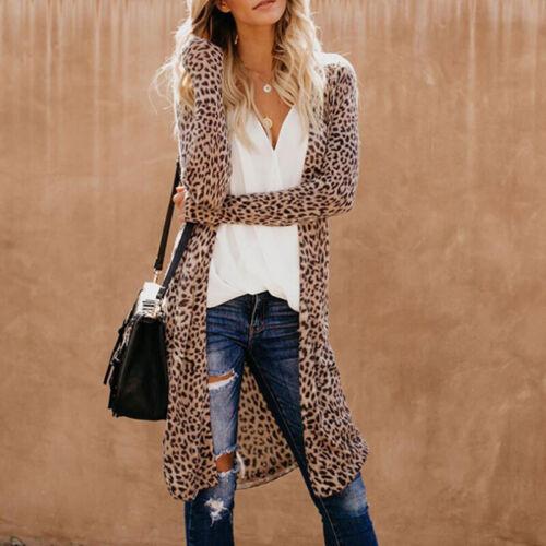 Womens Long Waterfall Coats Camouflage Jacket Leopard Cardigan Overcoat JumpeHK