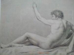 Rarissime dessin signé XVIIIème académie d'homme Carlos Espinosa nu curiosa