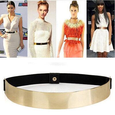 Hot Women Elastic Metal Waist Belt Metallic Bling Gold Plate slim Simple Band F