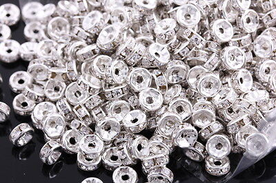 50 Pcs 6mm Silver Plated Crystal Spacers Rondelle Beads Jewelry Findings Charms