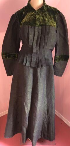 Late 1800's Green Jacket & Skirt Set w Velvet Acce