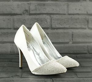 Mujer-Damas-Tacon-Alto-Plata-Diamante-Noche-De-Graduacion-de-Novia-Tribunal-Zapatos-Talla-Nuevo