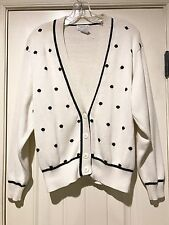 Christian Dior Separates Women's White With Black Polka Dots Cardigan Size S