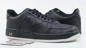Details about NIKE AIR FORCE 1 LOW USED SIZE 13 LEAF CREST LOGO BLACK WHITE GOLD AA4083 014