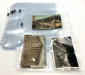 (10) Album Binder 3 Pocket Pages Postcards Flat Memorabilia Currency Bills Notes