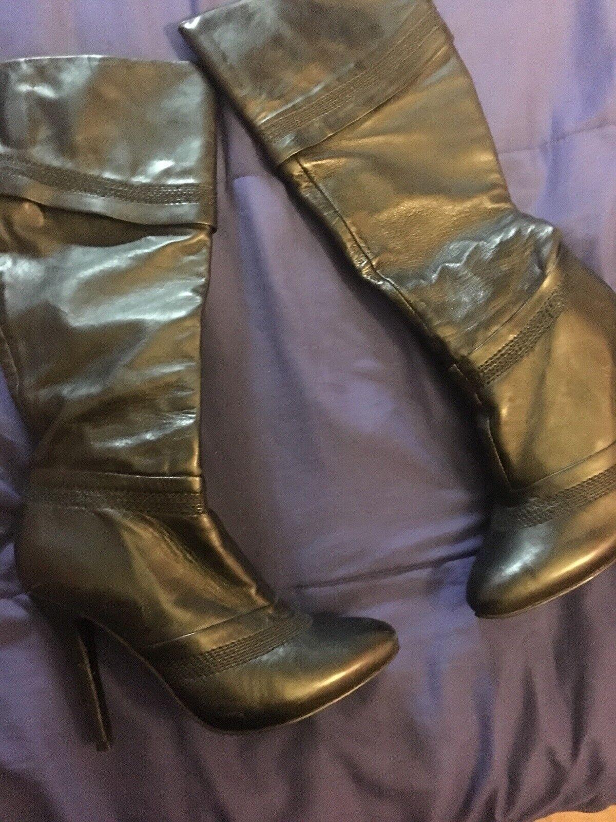 Aldo Black Leather Knee High Stiletto Boots Size 38