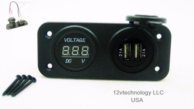 Dual USB Highest Power 4.2 Amp Charger, Voltmeter Panel Mount 12V Outlet No LED