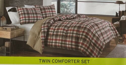 EDDIE BAUER HOME Twin Size Comforter Set Red Brown Plaid Reversible Sham Include